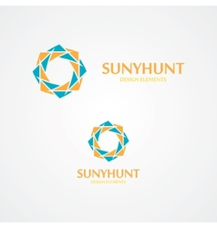 Sun logo with business card template vector