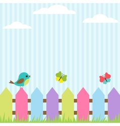 Bird and butterflies vector