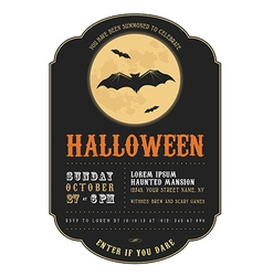 Vintage halloween invitation with flying bats vector