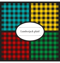 Set of lumberjack plaid patterns vector