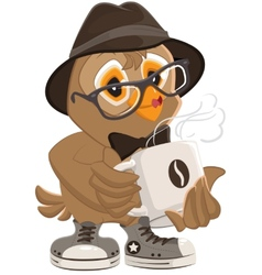Hipster owl hat and sunglasses drinking hot coffee vector