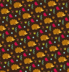 Hedgehog bird and acorn pattern vector