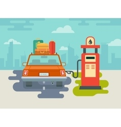 Refuel car at gas station vector
