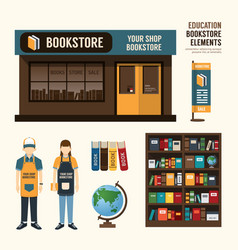 Bookstore set design shop store package t-shirt ca vector