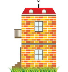 Two-story house vector