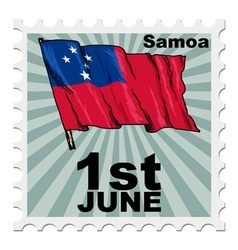 Post stamp of national day of samoa vector