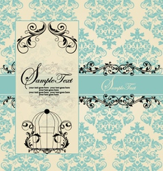 Wedding blue card vector