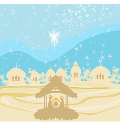 Crib brown silhouettes of landscape collage vector