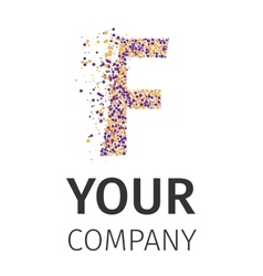 Alphabet particles logotype letter-f vector