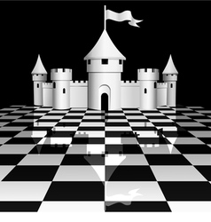 Castle on chessboard vector