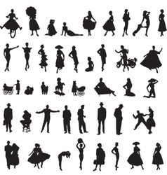 Set of retro silhouettes of people vector