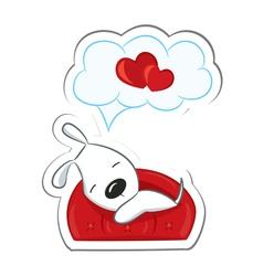 Sleeping dog in love vector
