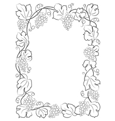Black calligraphy frame wine label vine grapes vector