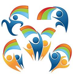 Rainbow people vector