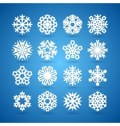 Simple flat snowflakes set for winter and vector