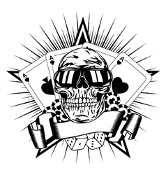 Skull in sunglasses playing cards dice chips vector