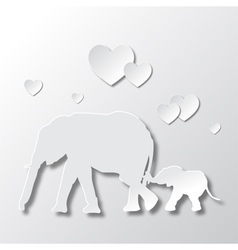 Elephants mom and son love and caring vector