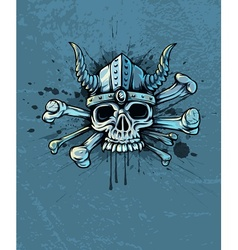 Skull in helmet with horns vector