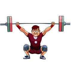 Cartoon male athlete crouched with a barbell vector