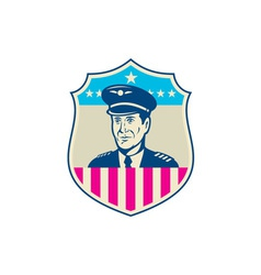 American airline pilot aviator usa flag shield vector