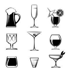 Silhouette beverage glass icons on white vector