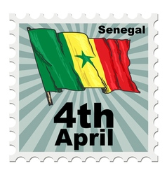 Post stamp of national day of senegal vector