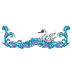 A swan border design vector