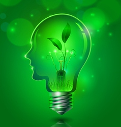 Human head light bulb save ecology concept vector