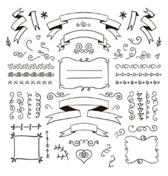 Floral decor set of hand drawn doodle vector