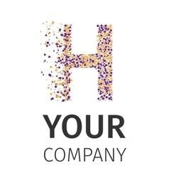 Alphabet particles logotype letter-h vector
