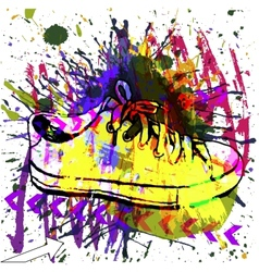 Stylish sneakers on grunge background vector