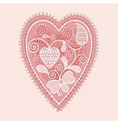 Lace heart valentines card vector