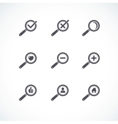 Flat style magnifier icon set vector