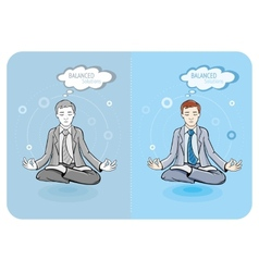 Successful businessman doing yoga vector
