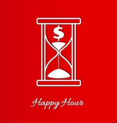 Happy hour background with sandglass vector
