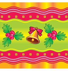 Christmas background with holly berry and bell vector