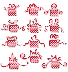Holiday gifts with ribbons vector