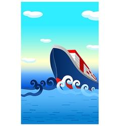 Container ship ocean vector