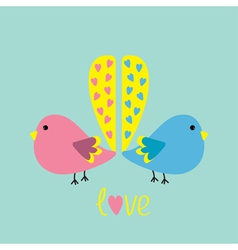 Two birds with yellow heart tails love card vector