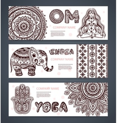 Set of banners with ethnic and yoga symbols vector