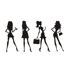Fashion shopping girls silhouettes vector