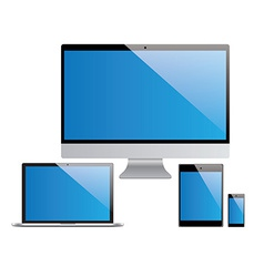 Devices set laptop pc tablet smartphone vector