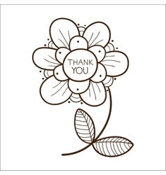 Flower with thank you text vector