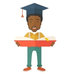 Black man standing with graduation cap vector