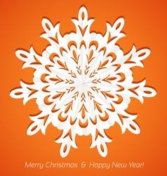 Applique snowflake christmas card on juicy orange vector