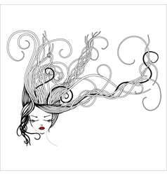 Hand-drawn woman with long flowing hair vector
