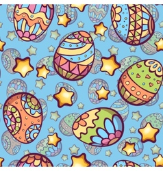Seamless pattern of cartoon color eggs vector