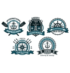 Nautical badges and emblems set in heraldic style vector