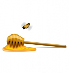 Honey stick with a bee vector