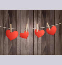 Background with red hearts on wooden texture vector